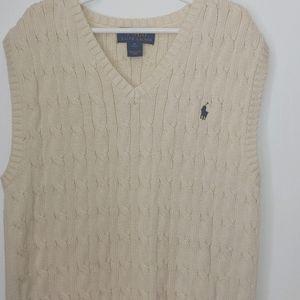 Ralph Lauren Polo Boys cable knit Sweater Vest.  Medium 10-12